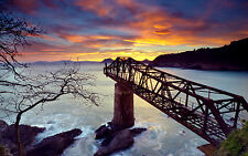 Impression Encadrée - Rouillé Vieux Chemin de Fer Pont Langer dans le Océan