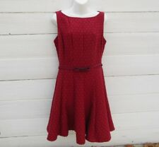 Limited Women 8 Retro Swing Dress Sleeveless Red Ghost Polka Dots Belted Back Zi