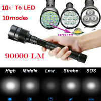 Tactical Flashlight 90000LM T6 LED SuperBright Light Rechargeable Torches Lamp