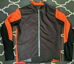 CANARI CYCLING SHELL FULL-ZIP Jacket( MENS XXL ) Made in USA, Black/Orange