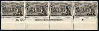 "[DY]  US #237 MNH 10c Columbian Plate # Strip of 4 w/ ABN Imprint and Letter ""Y"""
