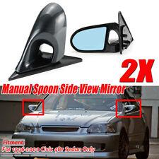 Carbon Black Side Mirrors Manual Adjustable For Honda Civic EK Sedan  #!