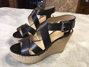 Michael Kors Black Leather Wedge Sandal Size 8.5 GP16A  New No Box