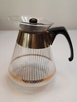 Vtg MCM Mid Century Pyrex Glass 8 Cup Coffee Carafe with Gold Stripes