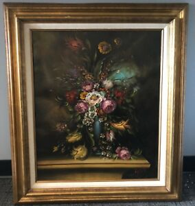 """Antique ITALY 32"""" Anton Pierry SIGNED Peony Rose Floral Bouquet Oil Painting"""