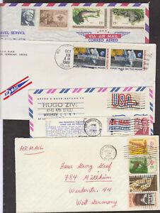7 interress. Briefe und 1 Ak, mit schönen Frankaturen von Amerika, alle gelaufen