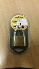 BRAND NEW SEALED YALE 50MM BRASS PADLOCK STAINLESS SHACKLE WITH 2 KEYS FREE P&P