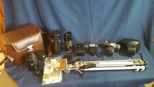 Cannon AE-1 vintage camera, lenses, teleconverter, case and accessories
