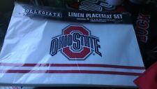 "Ohio State Buckeyes Linen Placemats Collegiate 12"" x 18"" Set of 4 NIP New"