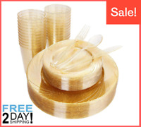 150 pcs Gold Plastic Plate with Disposable Plastic Silverware, Gold Cup