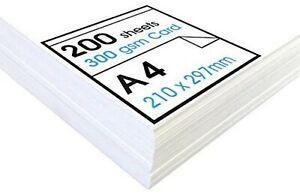 A4 Premium Thick White 300gsm Craft Printing Card x 200  Sheets