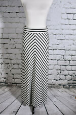 The Limited Maxi Skirt Black White Striped Sz Small Side Split Slimming Stretch