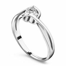 Ladies 925 Sterling Silver Angel Heart Crystal Claddagh Rings Valentine's Gifts
