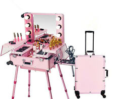 CE Rolling Makeup Artist Train Box with Lights Station Trolley Studio Wheeled
