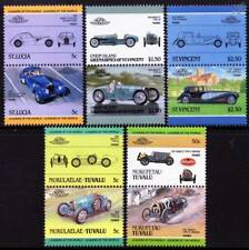 BUGATTI Collection of 10 Car Stamps (Auto 100 / Leaders of the World)
