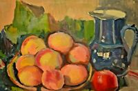 Antique ALBERT EDEL Floral Fruit Basket Still Life Impressionist Oil Painting