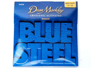 3 Sets Dean Markley Blue Steel Acoustic Strings #2036 Medium Light Gauge 12-54