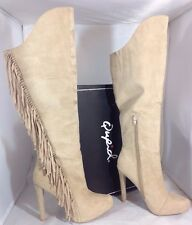 NEW QUPID Faux Suede Leather Womens Boots Size 6 Beige High Heels Knee Zip Shoes