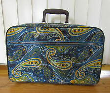 Childs Small Vintage SUITCASE Blue Green Yellow Paisley Print 18x10x4
