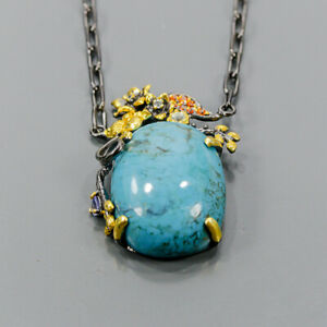 """Vintage Turquoise Necklace 925 Sterling Silver  Length 18.5""""/N06551"""