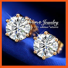 18K ROSE GOLD GF E236 solitaire SIMULATED DIAMOND 4.0CT SOLID MENS LADY EARRINGS