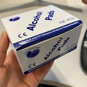 100PCS Disposable 75% Alcohol Cotton Prep Pad Sterilization Swabs Cleanser Wipes