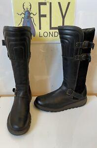 Fly London Soft Black Leather Boots Size UK 8 EU 41