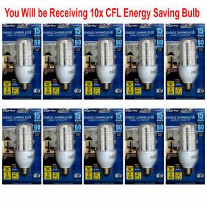 10 CFL 15W Light Bulb Energy Saving Replacing 60W 120V 60Hz 3000K Warm White E26