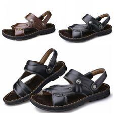 38-44 Men Non-slip Slip On Open Toe Slingback Faux Leather Sandals Shoes Beach B