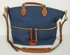 Dooney & Bourke Nylon Large Pocket Satchel Navy Crossbody Leather Trim EUC