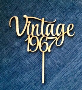 Custom Vintage Cake Topper, with any Year 1967,1977,1957..Birthday Cake Topper,