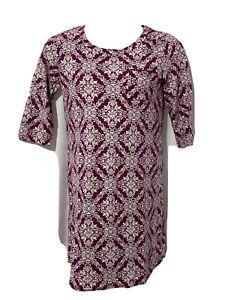 Christopher Banks Women's Night Gown Sleep Shirt Cotton PUrple Floral Sz Medium