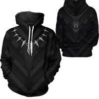 Avengers Infinity War Cosplay Black Panther Hoodie Sweatshirt Pullover Jumper US