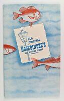 Vintage Old Original Bookbinders Menu Pop Out Fish Walnut Street Philadelphia