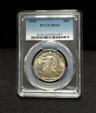 1943 Liberty Walking Silver Half Dollar - PCGS MS64 PQ! - 1497   ENN COINS