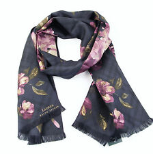NEW LAUREN Ralph Lauren 'Irina' Silk Floral Oblong Scarf - Purple- Combo