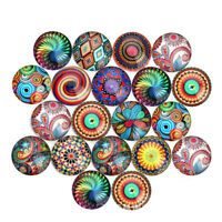 50pcs 18/20/25mm Assorted Flower Pattern Photo Round Glass Cabochons DIY Jewelry