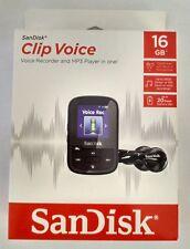 NEW SanDisk Clip Voice Recorder 16GB Black MP3 Player Music Audio Microphone USB