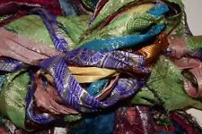 5 yards Zari lurex Recycled Sari Silk Ribbon Yarn, multi shades for tassels