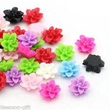 "100PCs Resin Flower Embellishment Findings Flatback Mixed 4/8""x 4/8"" B24957"