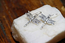 Dragonfly Earrings wing bug insect 925 sterling silver earrings pewter charm
