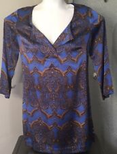 Women's 6 Etcetera blue Silk Blouse