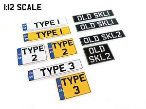1:12 Scale UK British RC Mini Plastic Number Plate Plates Pair License Car Drift
