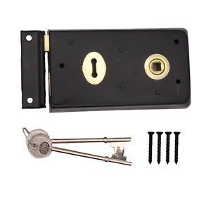 Black Rim Lock Sash Lock Double Handed 140x76mm Door Shed Garden + 2 keys