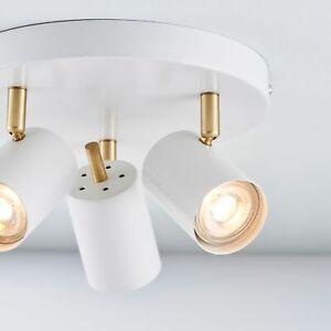 QUINN Round 3 Way GU10 Ceiling Spotlight - Matt White/Brushed Gold - Adjustable