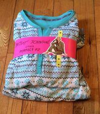 NWT Womens BETSEY JOHNSON Aqua Snowflake 2 Piece Perfect Pajama Set Size M