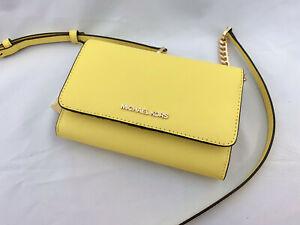 New! Michael Kors Jet Set Travel Medium Phone Case Crossbody Bag Sunshine