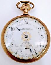 American Waltham Pocket Watch Gold Filled Open Face 1898 16s 7j AS IS