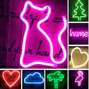 LED Neon Sign Night Light Desk Table Stand Bar Lamp Home Nursery Room Decor Gift