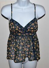 FIRE LOS ANGELES Spaghetti Strap Semi Sheer Floral Top Sz S Longer in the Back